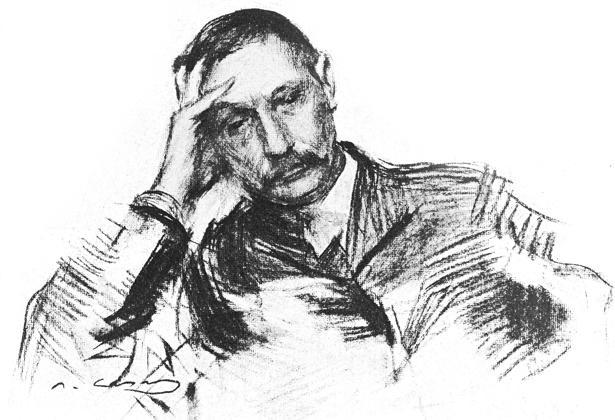 Grabado firmado por Ramón Casas de Benito Pérez Galdós