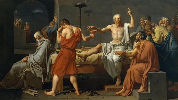Detalle de «La muerte de Sócrates», de Jacques-Louis David