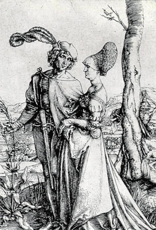 «El paseo», el grabado de Durero, datado en 1490, muestra a una pareja de enamorados que sonríen y expresan la plenitud de vivir