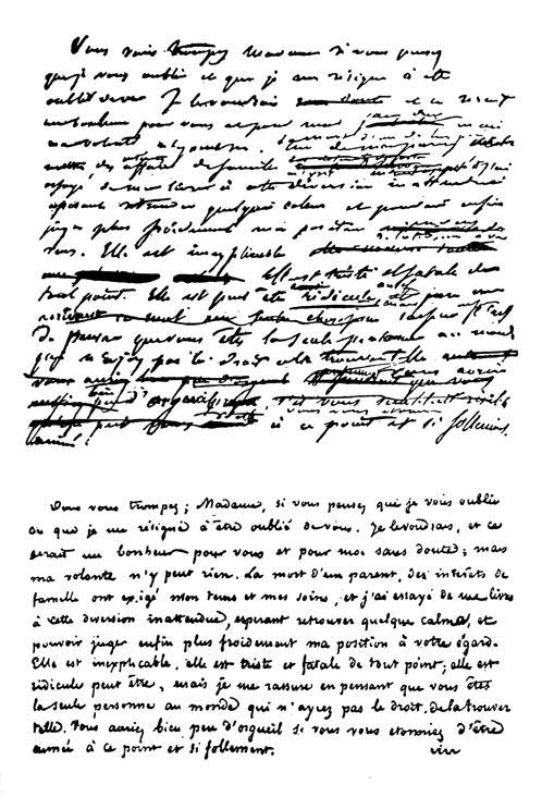 El borrador y una de las cartas que Nerval escribió a Jenny Colon pasada a limpio