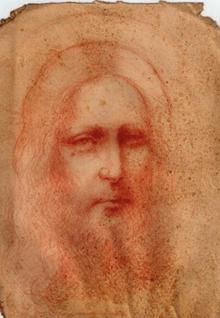 Boceto de un retrato de Cristo atribuido a Leonardo