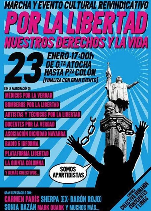 Bunbury, Carmen París y Sherpa (Barón Rojo) promueven una manifestación negacionista