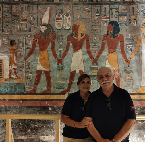 Teresa Bedman and Francisco Martín pose next to the paintings recently recovered from the funerary monument of Pharaoh Ramses I