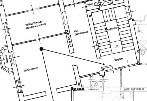 Plano de la casa de los Samsa, que está inspirada en la de los Kafka