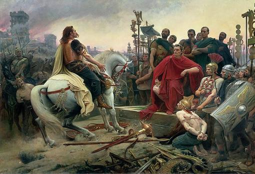 Vercingétorix arroja sus armas a los pies de Julio César tras la batalla de Alesia en el 52 a.C.