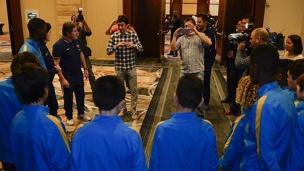 Raúl, con la delegación del Barça en Miami