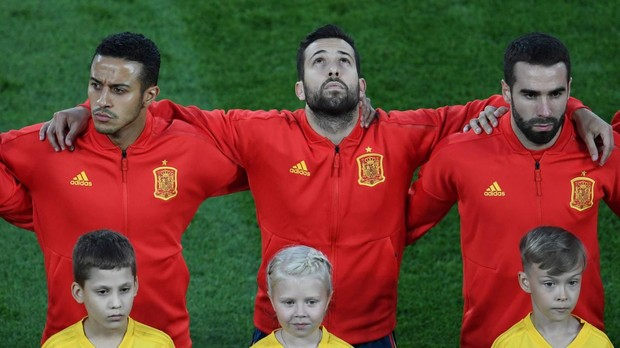 La selección española antes de comenzar uno de los partidos del Mundial de Rusia 2018