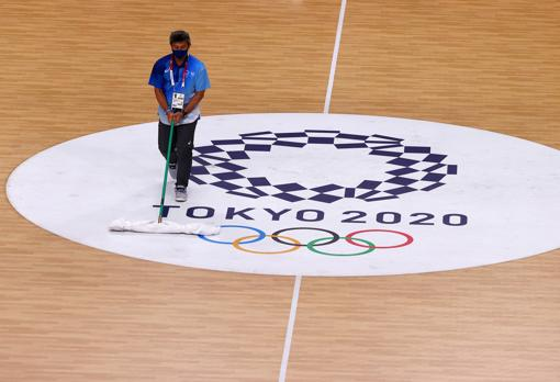 An operator cleans one of the Tokyo 2020 facilities