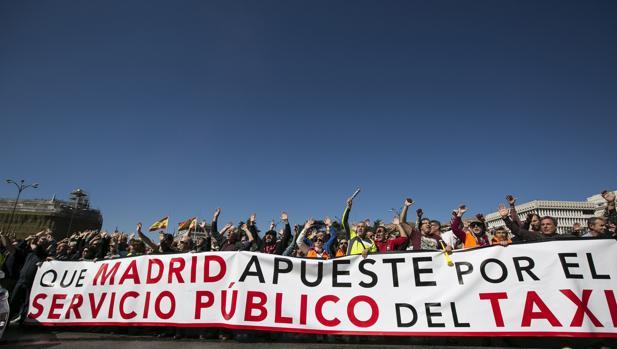 Huelga de taxistas en Madrid el pasado 16 de marzo