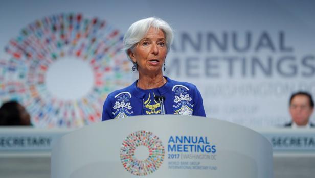 Christine Lagarde, presidenta del FMI, en una conferencia producida este viernes