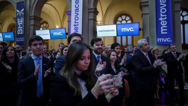 Vista general de la Bolsa de Madrid durante el debut bursátil de la inmobiliaria Metrovacesa