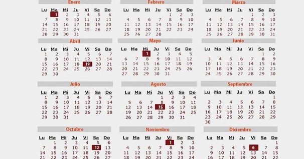 Calendario Julio 1976.Calendario Laboral 2019 Todos Los Dias Festivos De Tu