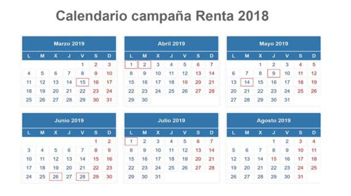 Calendario De 1976 Completo.Este Es El Calendario De La Declaracion De La Renta 2018 2019