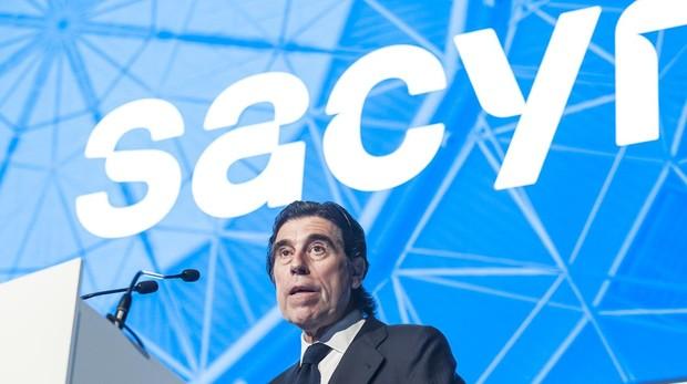 Manuel Manrique, presidente de Sacyr, durante la junta celebrada este jueves