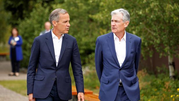 Jerome Powell, junto a Mark Carney, el gobernador del Banco de Inglaterra