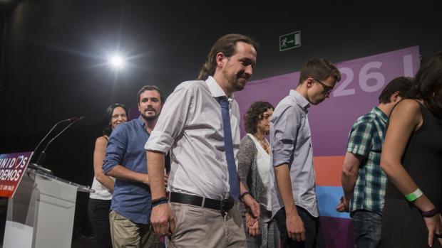 Pablo Iglesias tras su discurso en la noche electoral del 26-J
