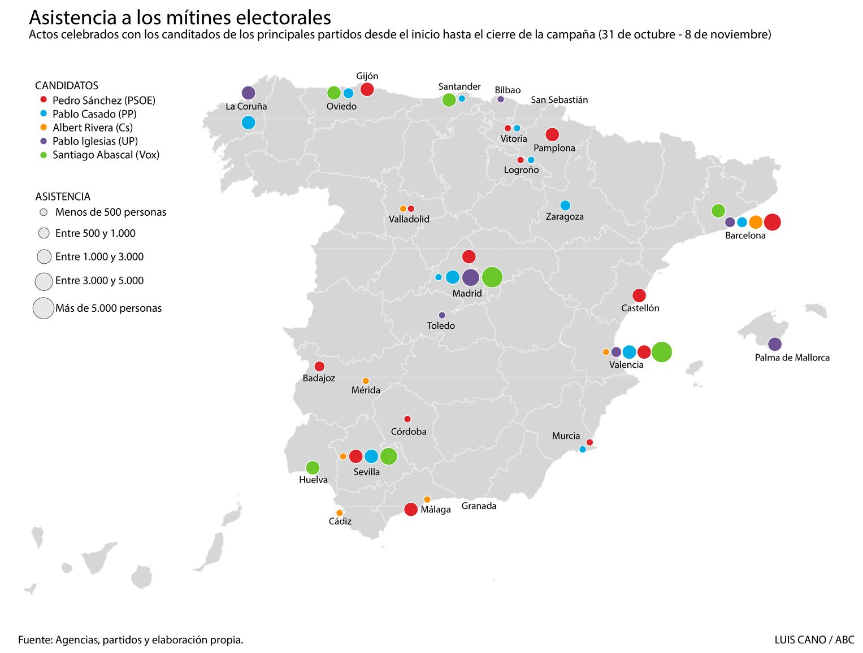Mitines elecciones 10 de noviembre 2019