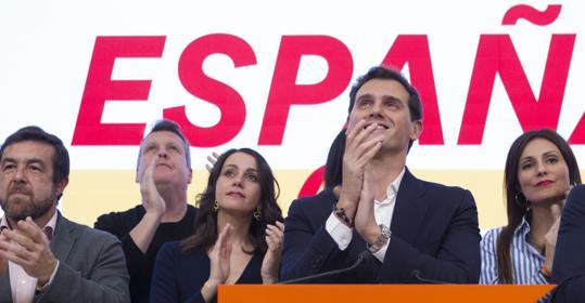 Inés Arrimadas, visiblemente emocionada en la despedida de Albert Rivera