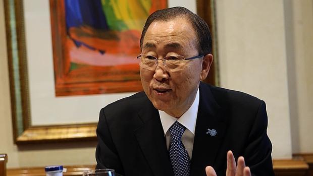 El secretario general de la ONU, Ban Ki-moon, durante su entrevista con ABC