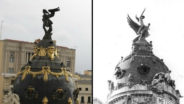 A la izquierda, la «Victoria Alada» que culmina el Edificio Metrópolis desde 1977. A la derecha, la antigua estatua de «La Unión y El Fénix»