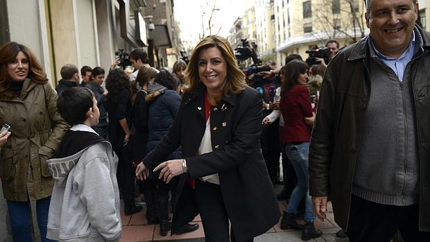 Susana Díaz, a su salida de la sede socialista en la calle Ferraz