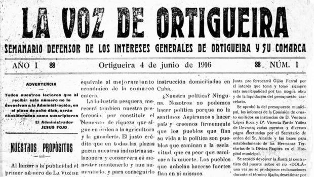 Primera plana de La Voz de Ortigueira