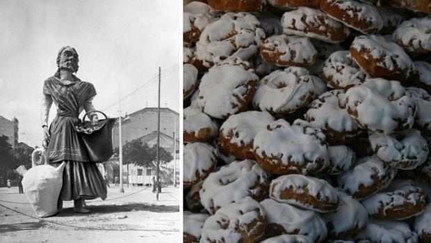 A la izquierda, una «falla» de las fiestas de Chamberí representado a la Tía Javiera en 1915; a la derecha, rosquillas del santo