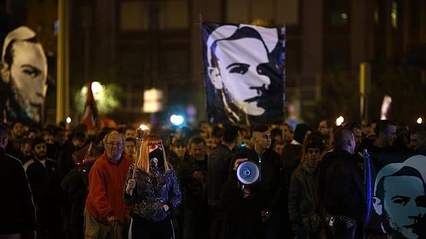 Una de las manifestaciones antisistema organizadas tras el crimen de Carlos Palomino