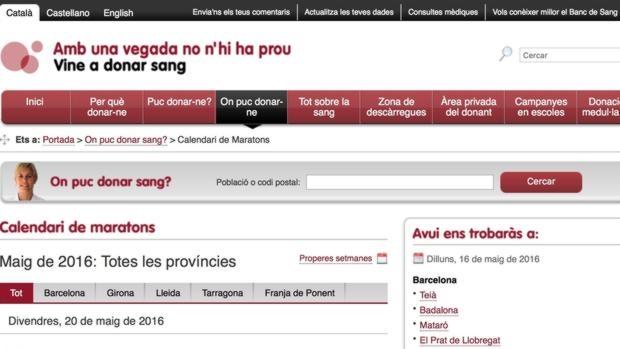 Web de la Generalitat sobre campañas de donaciones de sangre en las que el Aragón oriental («Franja de Ponent»), aparece citada como una provincia más de Cataluña