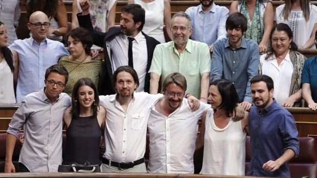 Miembros de Unidos Podemos en el Congreso