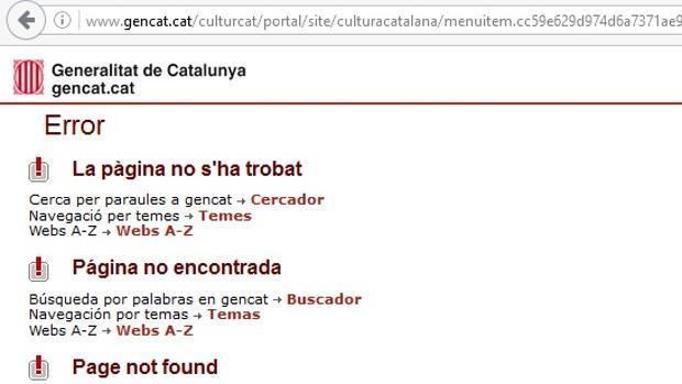 Mensaje de error en la página de la Generalitat de Cataluña