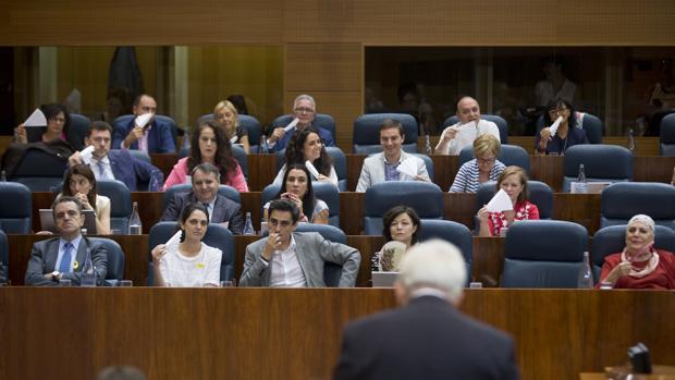 Diputados socialistas con abanicos, ante el consejero Sánchez Martos