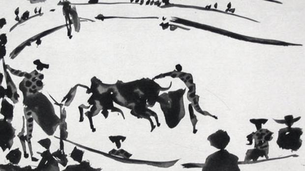 Una de las aguatintas de inspiración taurina realizadas por Picasso