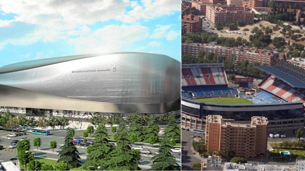 Recreación del «nuevo» Santiago Bernabéu; a la derecha, vista aérea del Vicente Calderón