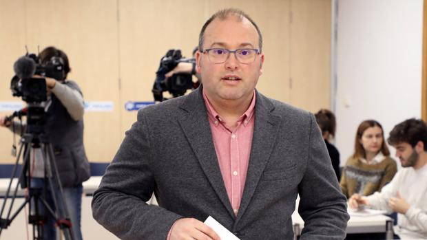 El secretario general del PPdeG, Miguel Tellado, en rueda de prensa
