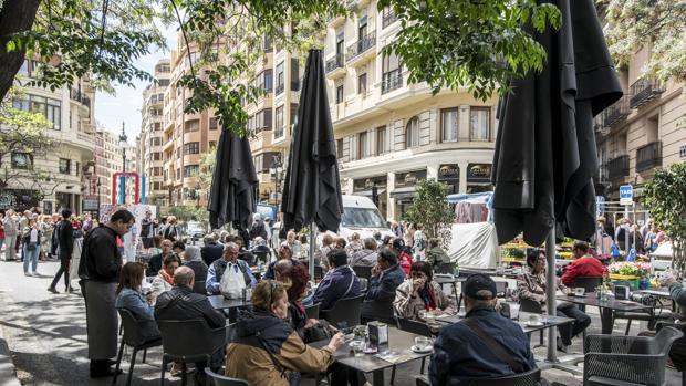 Imagen tomada en una terraza del centro de Valencia