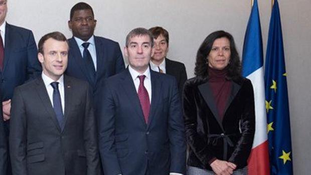 Macron y Clavijo, en marzo de 2018 en Bruselas
