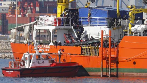 Llegada del Aquarius al Puerto de Valencia el pasado 17 de junio