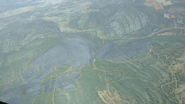 Vista aérea del incendio forestal en Moral de Calatrava