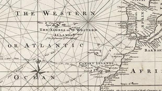 Mapa del geógrafo británico Emanuel Bowen (1694–1767) que ubica el meridiano cero en Canarias