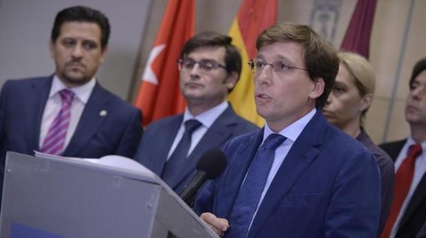 El portavoz del PP en el Ayuntamiento de Madrid, José Martínez Almeida, en una rueda de prensa reciente