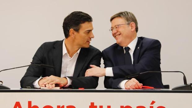 Pedro Sánchez y Ximo Puig, en Valencia en un acto del PSOE