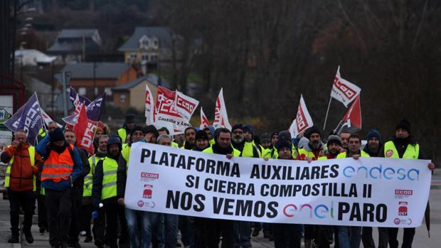 Protestas contra el cierre de la central térmica de Compostilla