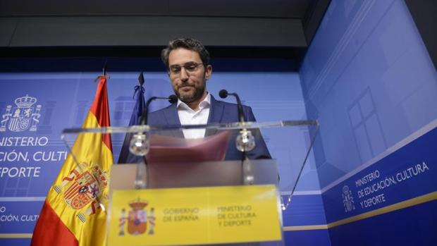 El exministro de Cultura, Màxim Huerta, justo antes de presentar su dimisión