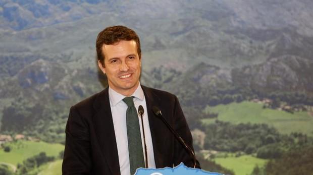 Pablo Casado, presidente el PP nacional, este viernes en Asturias