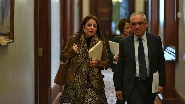 La portavoz socialista en el Congreso, Adriana Lastra, y su compañero Rafael Simancas, en imagen de archivo