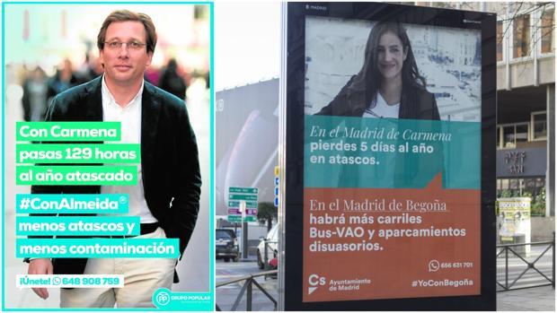 El cartel de la izquierda, de Almeida (PP), salió a la calle a finales de febrero. El de Villacís (Cs), a la derecha, a mediados de marzo