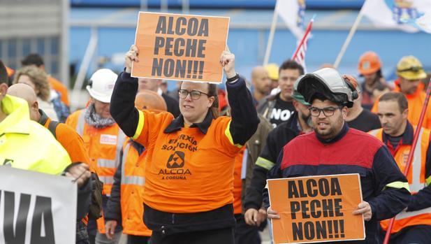 Manifestación de los trabajadores de Alcoa esta tarde en La Coruña