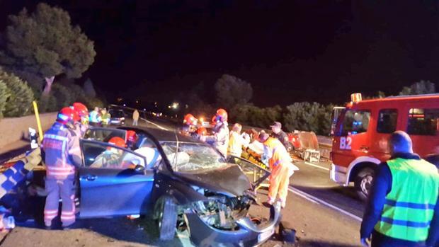 Imagen del lugar del accidente en la N-340 a su paso por Castellón