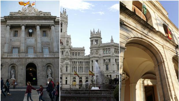 Fachadas de los ayuntamientos de Barcelona, Madrid y Sevilla